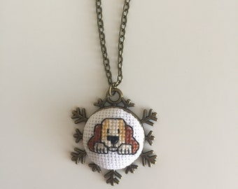 Dog cross stitch necklace. Free shipping US only.