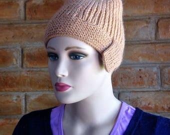 Merino Wool Knit cap, flapper, cream pink