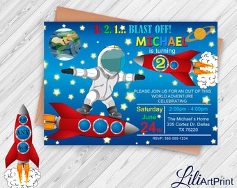 Space Invitation, Second Space Invitation, Space Birthday Invitation, Rocket Invitation, Rocket Invite Printable, Digital file, 13