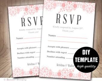 Pink and Gray Wedding RSVP Template DIY,Instant Download Printable RSVP Wedding Response Card,Pink Wedding Rsvp,Grey and Pink