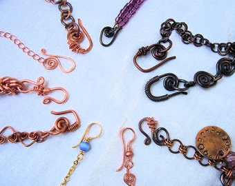 Handmade Clasps,  4 Bracelet & Necklace Clasps  Copper or Brass