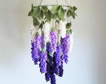 Original Purple Wisteria Felt Flower Mobile, Chandelier, Crib Mobile for Baby Girl