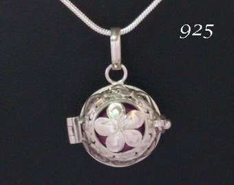 Harmony Ball Traditional Balinese, Sterling Silver with Hibiscus Flower, Purple Chime Ball | Bola Necklace, Pregnancy Gift, Angel Caller 659