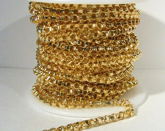 3ft Box Link Rolo Chain - Gold Plated - 4mm x 2mm Links - CH105