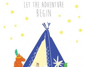 Bear Tippi Adventure Art Print