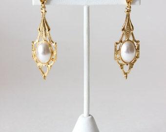 Vintage Victorian Revival Goldtone Faux Pearl Dangle Earrings