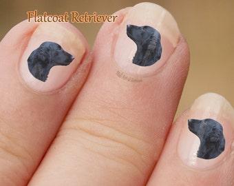 Flatcoat Retriever Nail Art hond Nail Art Stickers, vingernagel stickers, zwart profiel, stickers, fotografische nail art