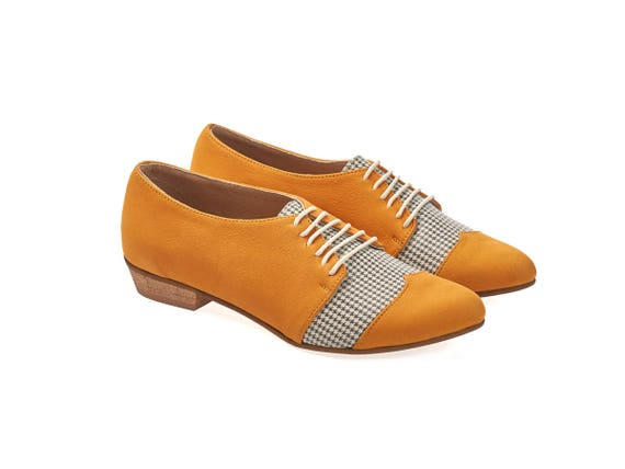 shoes leather Pepita Polly shoes women Yellow leather oxford flat Jean zwqp40A