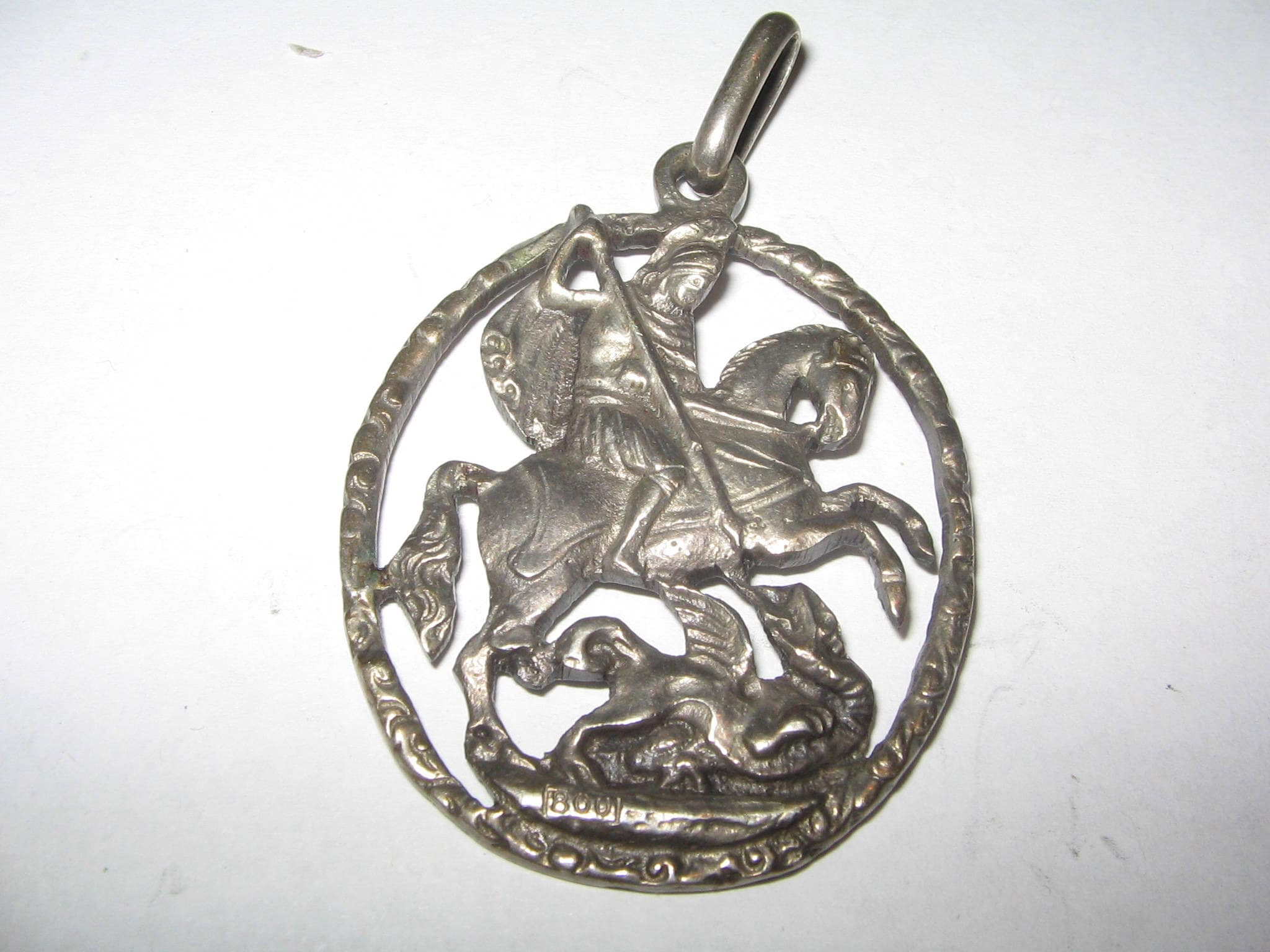 pendant st sided silver double saint george the necklace dbl sterling dragon