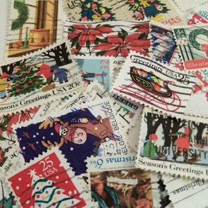 40 Christmas Postage Stamps, Vintage Stamps, Santa, Christmas Tree, Christmas Crafting