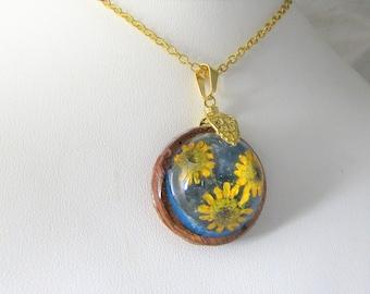 Sunflowers on Teal , Dark wood,    Pressed Flower Pendant, Real Flowers,Pressed Flower Jewelry, Resin (3110)