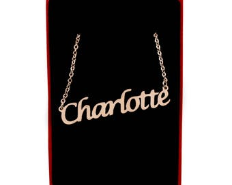 Charlotte Name Necklace Stainless Steel/ 18ct Rose Gold Plated | Christmas Present