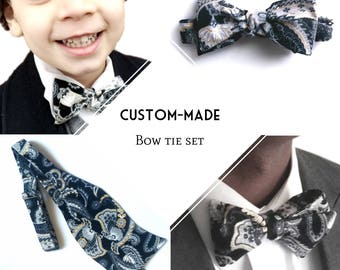 Custom-made bowtie set, New Spring Collection, father/son matching ties, choose your design, made-to-order