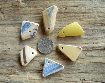 6 Drilled sea pottery shard pieces for jewellery crafts