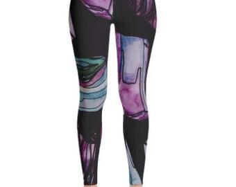 Gemstone Printed leggings with pink stones