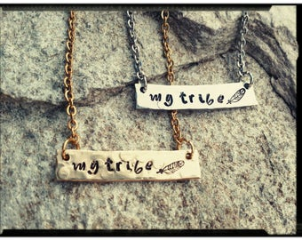 My Tribe - Hand Stamped Horizontal Bar Necklace - Solid Pewter//Nu Gold//Feather Stamp - Hammered/Textured Finish - Stainless Chain