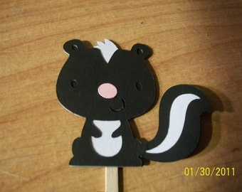 Skunk cupcake toppers- set of 12