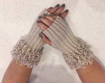 Crochet Pattern - Loopy Finger-less Gloves