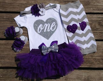 First Birthday Girl Outfit, Purple and Silver Birthday Outfit, 1st Birthday Bodysuit, Cake Smash Outfit, Photo Prop Set, Purple Tutu Set