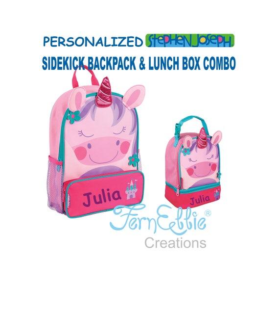 Personalized Stephen Joseph UNICORN Sidekick Backpack and Lunch Pal Combo.