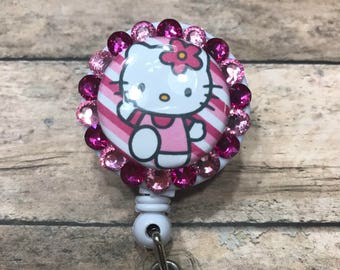 Hello kitty - retractable badge reel - badge reel - badge clip - ID card holder - badge holder