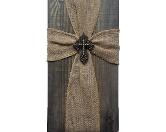 Rustic Burlap Cross, Stained, Farmhouse