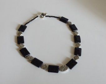 Navy blue necklace, Gemstone necklace, Silver necklace, Black necklace, Dark blue jewelry, Handmade , Unique necklace, Beaded necklace