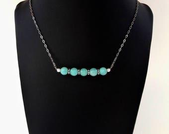 Collier Amazonites - Argent 925, chaîne fine, intercalaires en argent vieilli, pierres fines naturelles, bijou artisanal