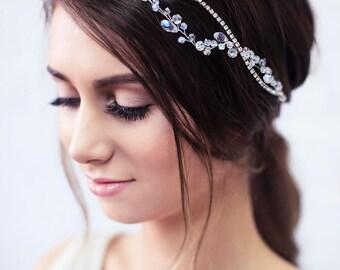 Bridal Hair Vine, Bridal Headband, Bridal Crown, Crystal Headpiece, Wedding Headband, Wedding Halo, Wedding Tiara, Hair Vine- LYDIA