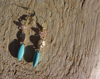 Gold and turquoise dangle