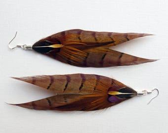Feather Arrow Earrings, Pheasant feather dangle earrings, handmade jewelry, summer fashion