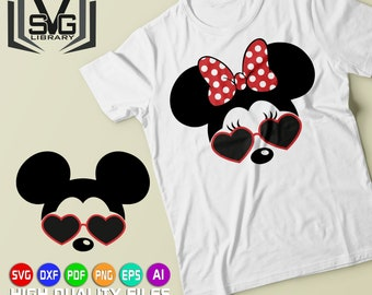 Mickey and Minnie with heart sunglasses SVG - Mickey mouse SVG - Minnie mouse SVG - Disney cut files - Mickey mouse clipart - Svg cut files