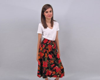 Vintage 80s Floral Skirt, High-Waist Skirt, Garden Skirt, Boho Skirt Δ size: xs / sm