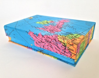 World Map Handmade Fabric Covered Box