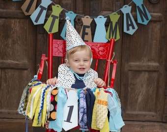 First Birthday Little Man High Chair banner with Tie Accent.  Great for First Birthday Photo shoot and Smash Cake Pics.  Custom Colors TOO