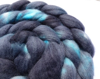 Black and Turquoise Polwarth and Mulberry Silk Blend - Hand Dyed Wool Roving (Top) - 100g