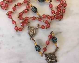 Rosary - Our Lady of Guadalupe - Crystal Padparadscha (pink) - Bronze Medals