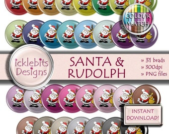 "Christmas Digital Elements Pack ~ ""SANTA & RUDOLPH"" ~ 31 Flairs ~  Festive digital brads ~ CU Scrapbooking  ~ Rainbow ~ Design #110"
