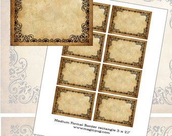 Medium Sepia Antique Victorian Aged Blank Labels Set Digital Collage Sheet 300dpi 3x2