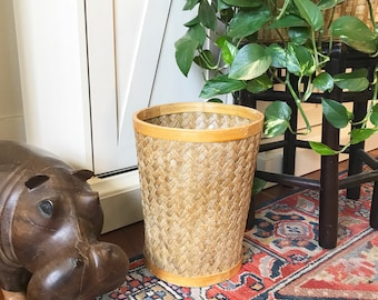 Vintage Woven rattan Waste Can • Braided Wicker trash Can • Boho Decor