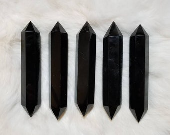 """4"""" Black Obsidian Double Terminated Crystal Wand"""