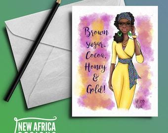 "Melanin Squad Greeting Card ""Nura"", A7, Black Greeting cards"
