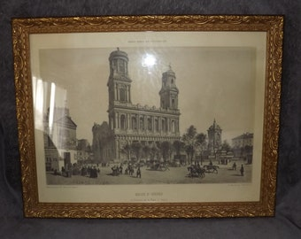 Beautiful Antique French Lithograph - 1860s Parisian Print of Church St Sulpice by Felix Benoist - Signed Known Lithograph of Paris