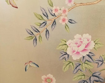SAMPLE for Chinoiserie handpainted wallpaper on champagne metallic leaf
