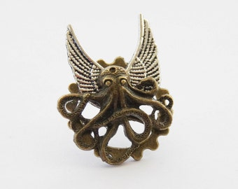 Flying Octopus Pin, Octopus Tie Pin, Steampunk Tie Pin, Octopus Tie Tack, Nautical Tie Pin, Steampunk Octopus Clip, Steampunk Octopus Pin