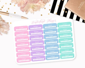 Pastel Daily Hydrate Water Tracker Planner Stickers // Perfect for Erin Condren Vertical Life Planner