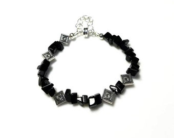 Zwarte Blackstone Chips edelsteen kralen armband Boulder-zilveren diamant-vormige bloem parel armband Boheemse sieraden armbanden voor vrouwen