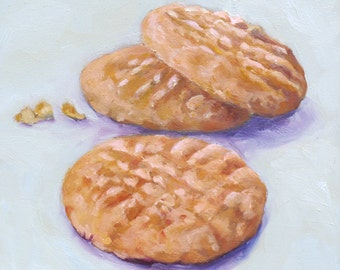 Peanut Butter Cookies Original Ready to Hang Oil Painting Still Life Kitchen Home Wall Decor