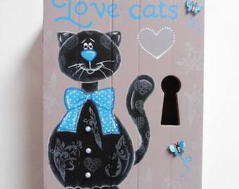 "Key box. Storage box for keys. Wooden box. Decoration ""black cat"". Plum and blue decoration"