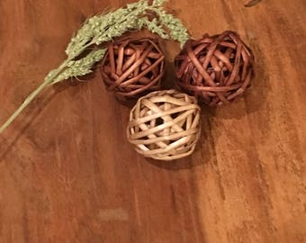THREE PACK! Mini Woven Willow Balls For Rabbits, Guinea Pigs, and Small Animals